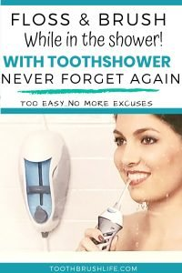 Floss and Brush your teeth in the shower with the ToothShower. Check out this ToothShower review. Water Floss for the shower. Waterpik for shower. No more excuses. Dental Hygiene tips. Oral Care tips. #dental #waterflosser #floss #brush #teeth #toothshower #toothbrushlife