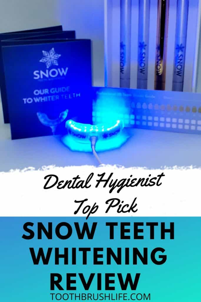 SNOW at home teeth whitening review. Does it really work? How to do professional at home teeth whitening at home. Review by a dental hygienist. How to get a brighter whiter smile. #teethwhitening #whiteteeth #teeth #dental #snow #snowteethwhitening #professionalteethwhitening